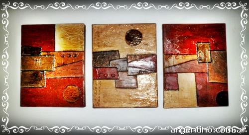 Cuadros tripticos texturados - Imagui